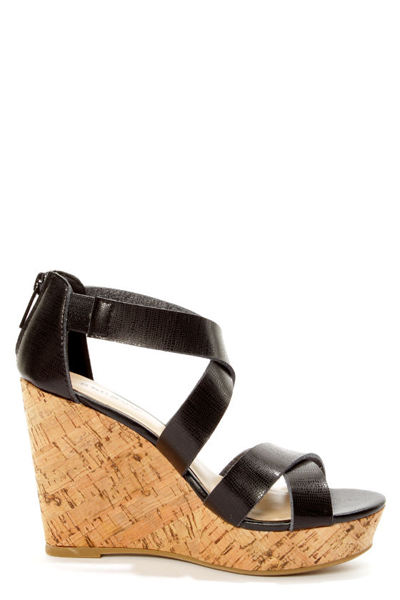 Bamboo Parker 12 Black Crisscrossing Strappy Wedge Sandals at Lulus.com!