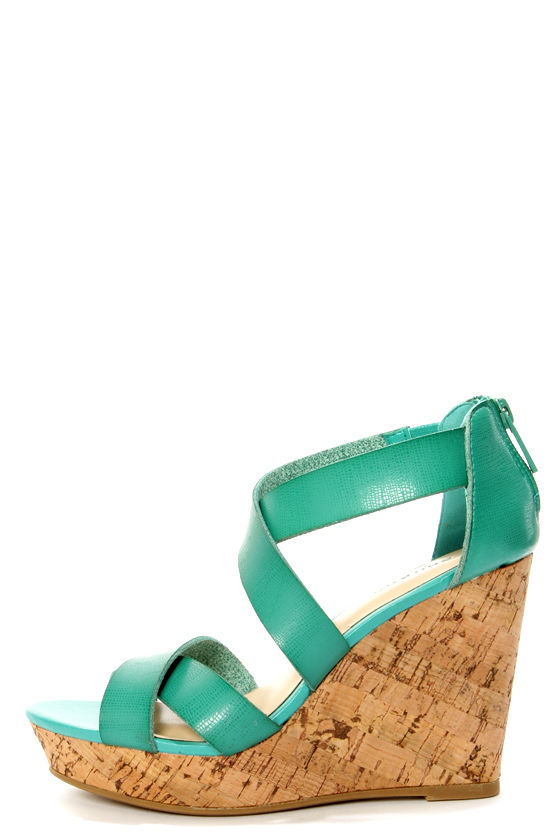 d2a1b69dd9c6 Bamboo Parker 12 Sea Green Crisscrossing Strappy Wedge Sandals -  34.00
