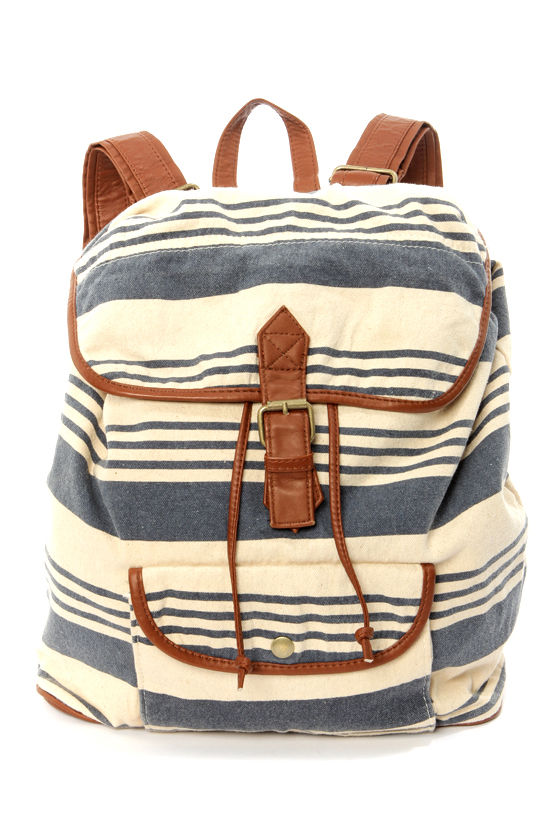 O'Neill Coco Cream and Blue Striped Backpack at Lulus.com!
