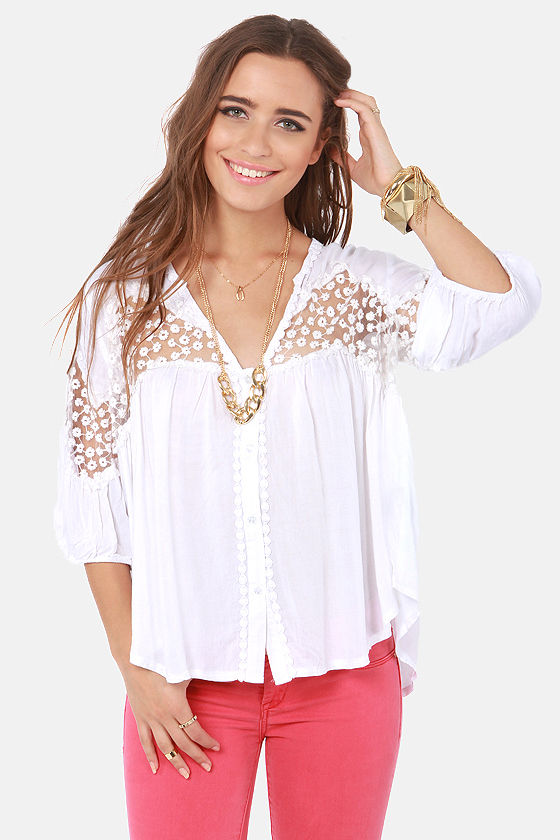 Pretty White Top Embroidered Top Short Sleeve Top 61 00