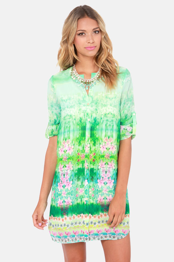 The One That Got Monet Floral Print Shift Dress at Lulus.com!