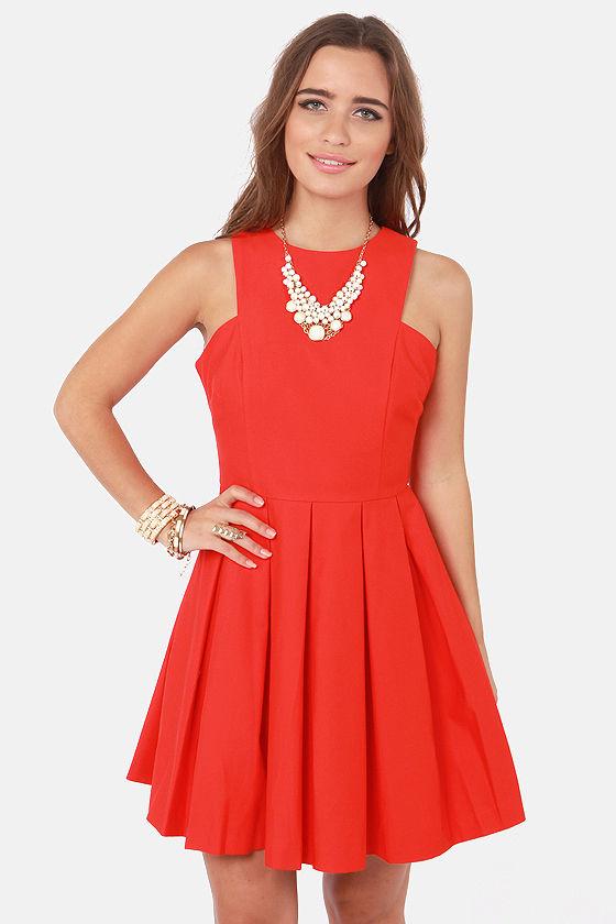 BB Dakota Anisa Dress - Red Dress - Pleated Dress - $87.00