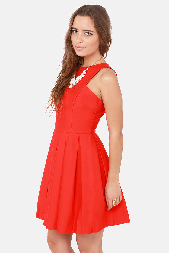 BB Dakota Anisa Pleated Red Dress at Lulus.com!