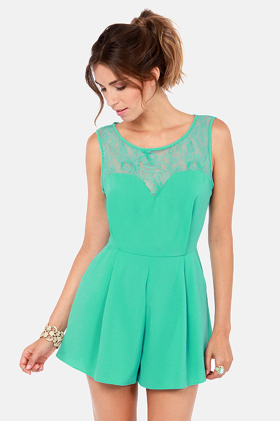 Day at the Laces Seafoam Lace Romper at Lulus.com!