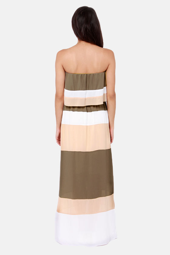 Shore Lines Taupe Strapless Maxi Dress at Lulus.com!