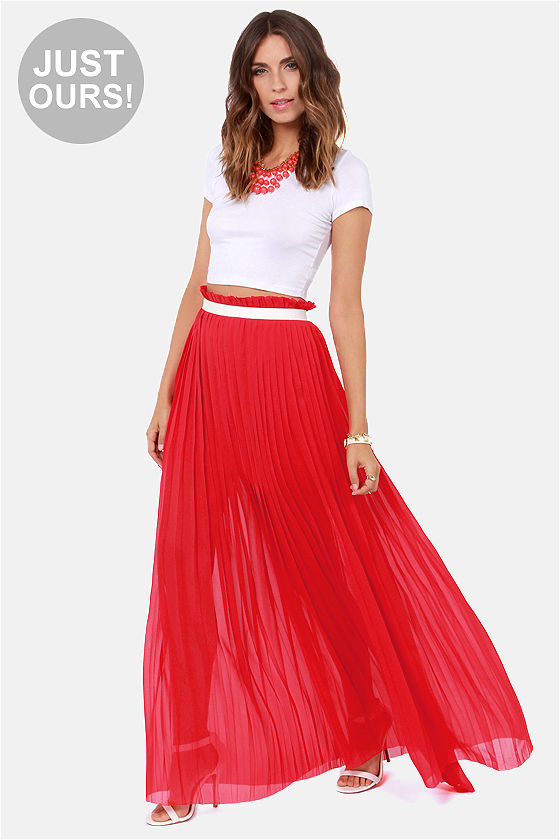 Stylish Red Skirt - Maxi Skirt - Pleated Skirt - $49.00