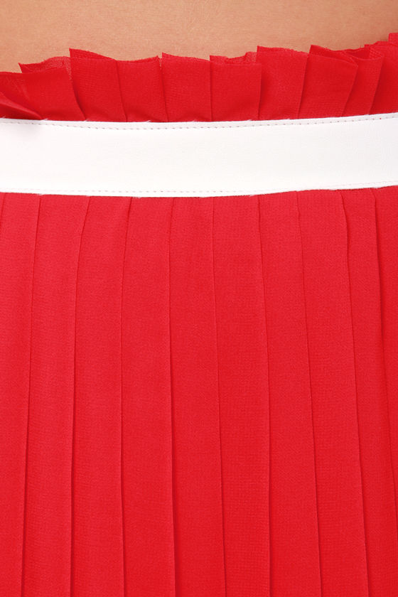 LULUS Exclusive Right Pleats, Right Time Red Maxi Skirt at Lulus.com!