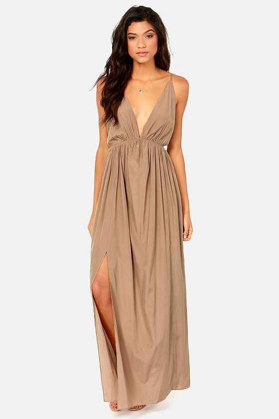 Titania's Woods Backless Taupe Maxi Dress at Lulus.com!