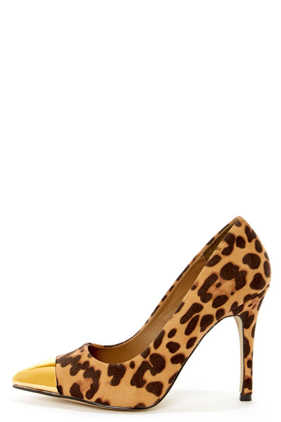 Mixx Shuz Teresa Leopard Print and Gold Cap-Toe Pointed Pumps at Lulus.com!