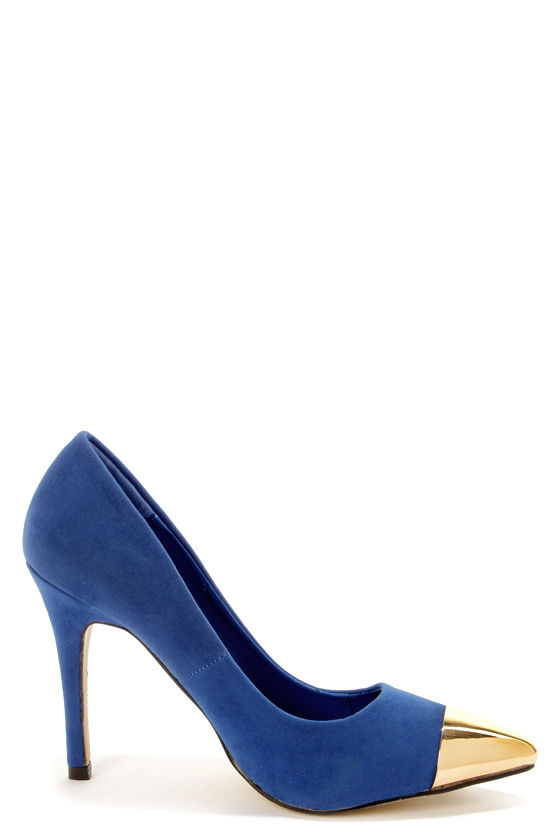 Mixx Shuz Teresa Blue and Gold Cap-Toe Pointed Pumps at Lulus.com!
