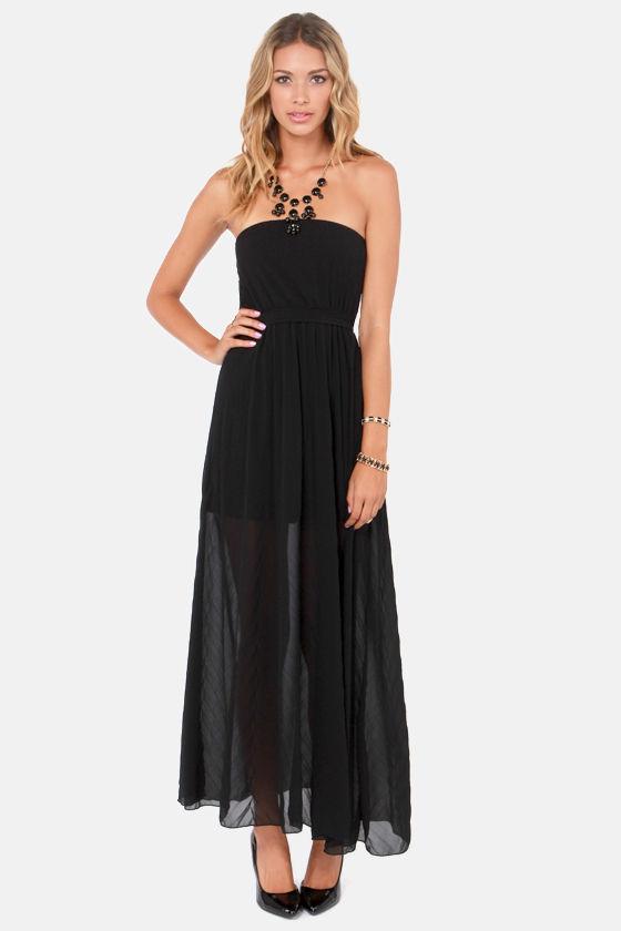 dad794385b Lovely Black Dress - Maxi Dress - Strapless Dress -  56.00
