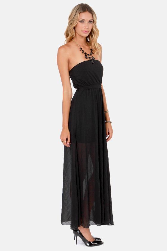 62451cb86cb9 Lovely Black Dress - Maxi Dress - Strapless Dress - $56.00