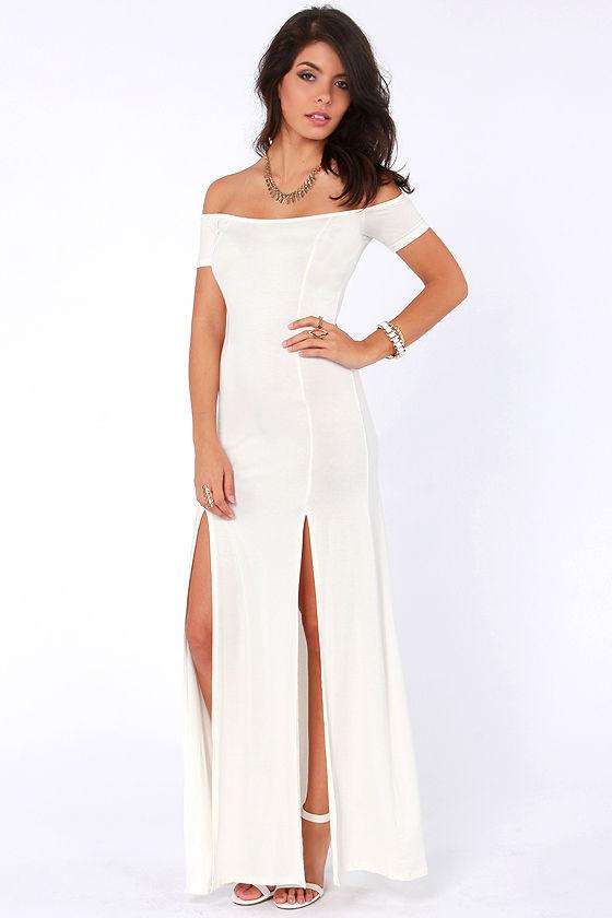 103066-1.jpg - Sexy Cream Dress - Maxi Dress - Off-the-Shoulder Dress - $46.00