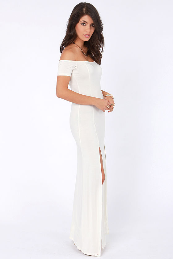 The Long Way Off-the-Shoulder Cream Maxi Dress at Lulus.com!