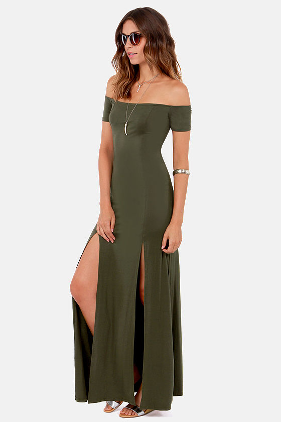 The Long Way Off-the-Shoulder Olive Green Maxi Dress at Lulus.com!