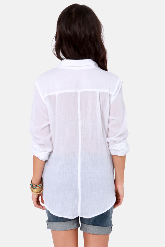 Collar-ly Pursuits Long Sleeve White Top at Lulus.com!