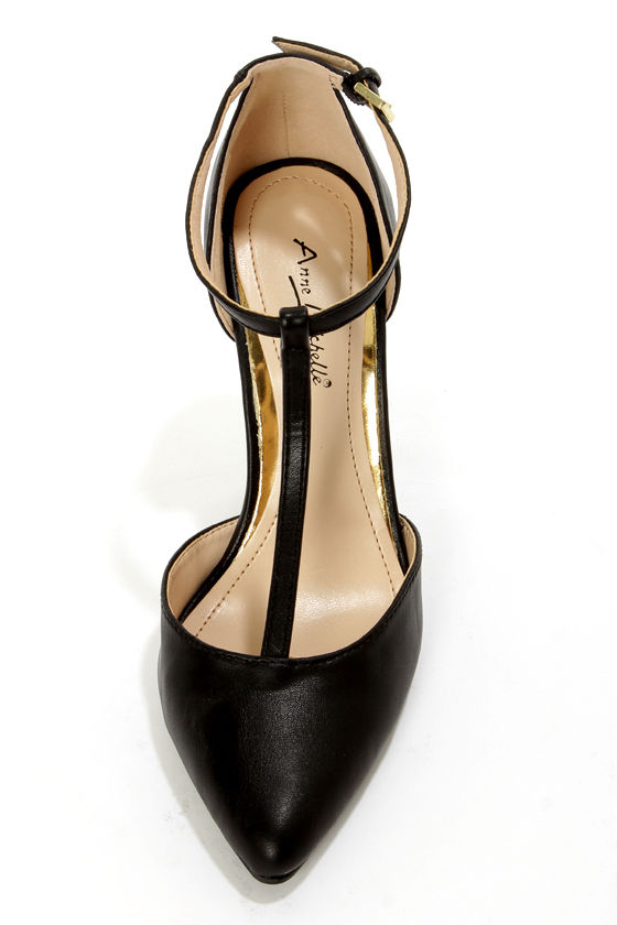 Anne Michelle Momentum 40 Black T-Strap Pointed Pumps at Lulus.com!