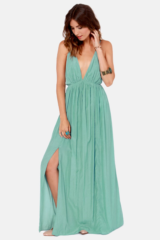 Sexy Seafoam Dress - Maxi Dress - Backless Dress - $45.00