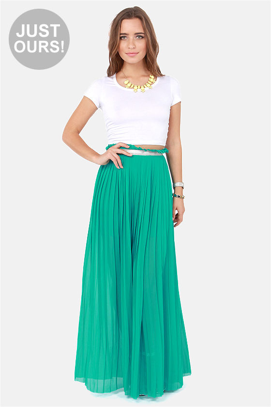 Stylish Teal Skirt - Maxi Skirt - Pleated Skirt - $49.00