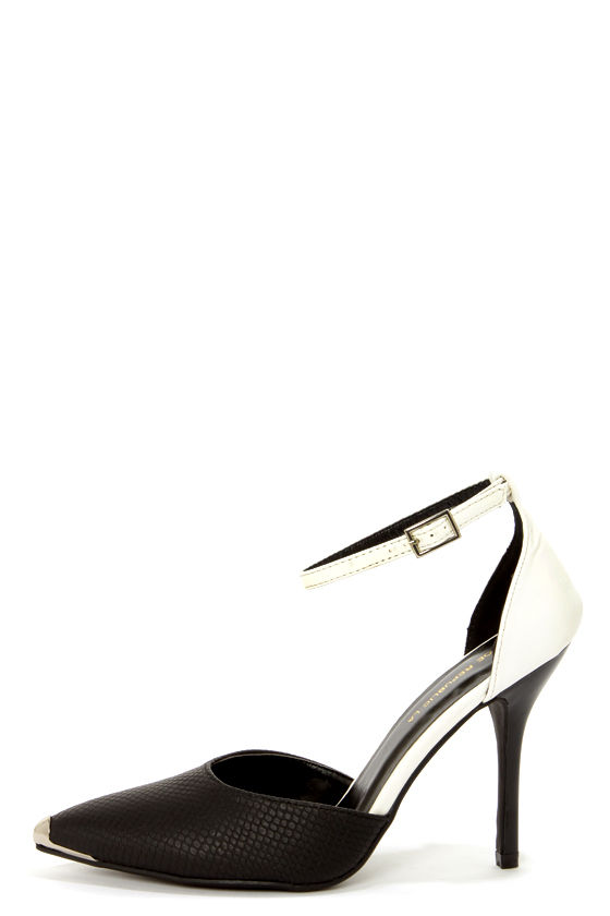 Shoe Republic LA Jenna Black Snake D'Orsay Pointed Pumps at Lulus.com!