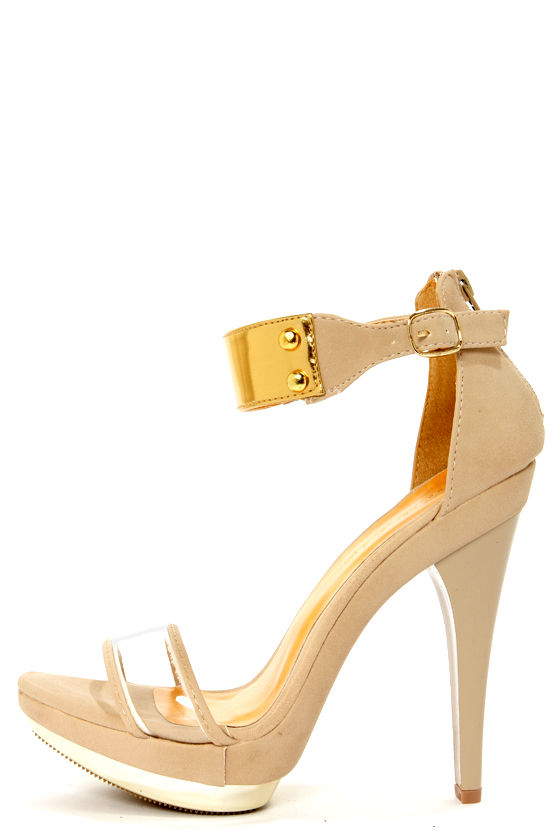 Shoe Republic LA Wolff Nude and Gold Plated Platform Heels - $49.00