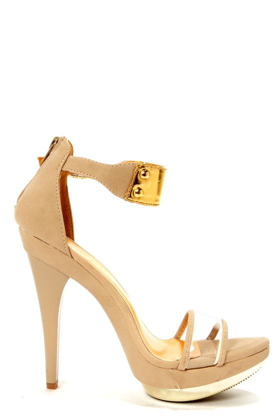 Shoe Republic LA Wolff Nude and Gold Plated Platform Heels at Lulus.com!