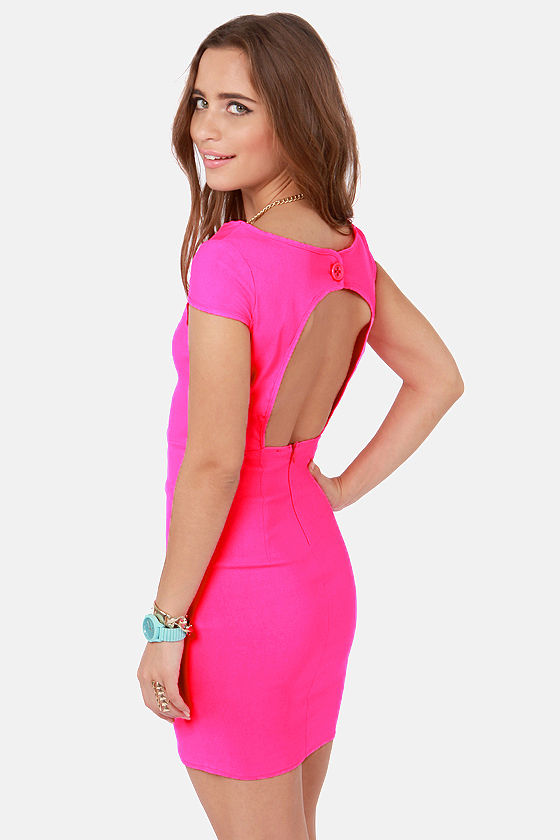 Sexy Backless Dress - Neon Pink Dress - Bodycon Dress - $48.00