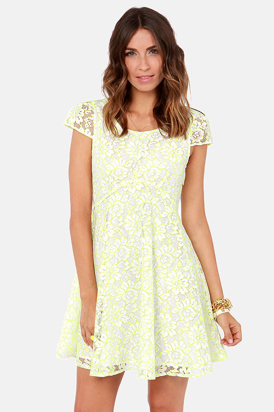 Ladakh Lace Lover Neon Yellow and White Lace Dress at Lulus.com!