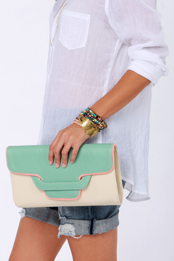 Days Go By Mint and Cream Clutch at Lulus.com!