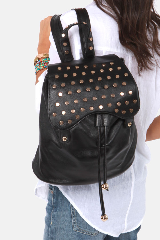 Cute Studded Backpack - Black Backpack - $47.00