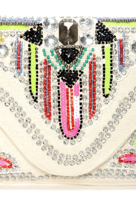 Bead My Lips Beaded Cream Envelope Clutch at Lulus.com!