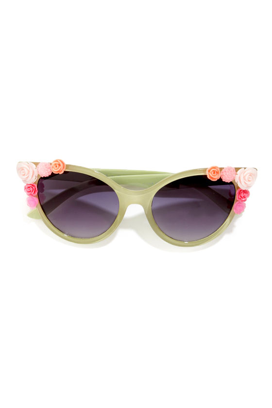 Lola Rose Embellished Green Sunglasses at Lulus.com!