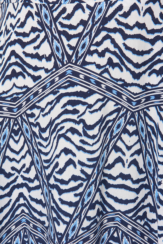Queen of the Jungle Ivory and Blue Print Dress at Lulus.com!