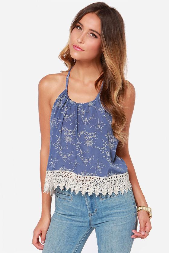 Cute Slate Blue Top - Halter Top - Crop Top