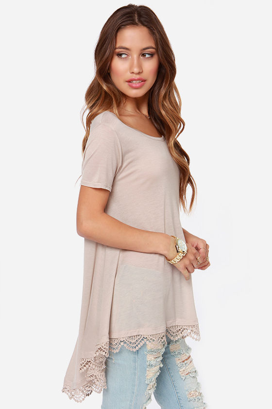 Trapeze-y Rider Oversized Taupe Top at Lulus.com!