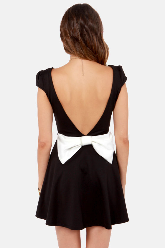 Flare-est of Them All Backless Black Dress at Lulus.com!