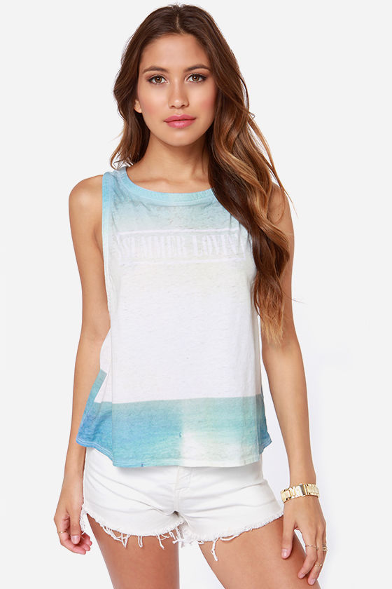 Chaser Summer Lovin' Blue and Ivory Tank Top at Lulus.com!