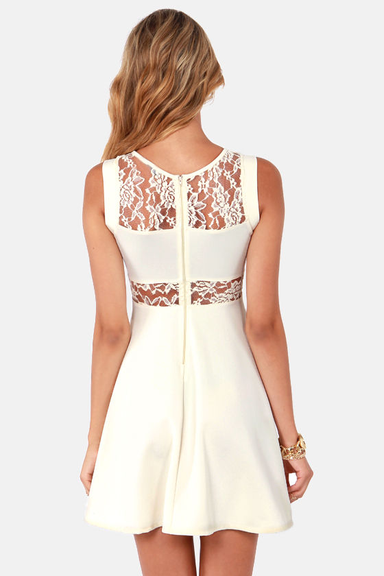 Peeks of Mine Ivory Lace Dress at Lulus.com!