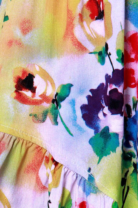 Reverse Sophie Bright Floral Print Romper at Lulus.com!