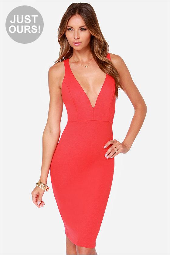Sexy Red Dress - Midi Dress - Bodycon Dress - $45.00