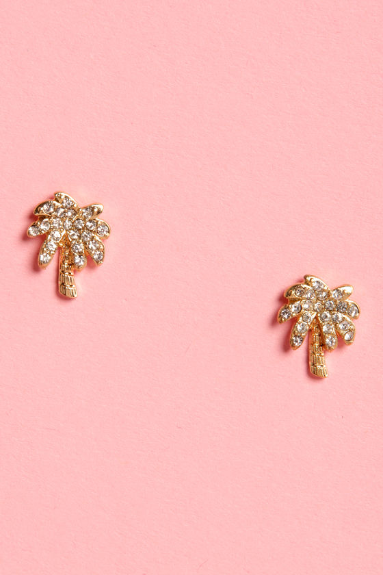 Palm Reader Rhinestone Gold Earrings at Lulus.com!