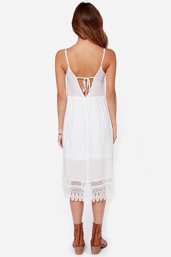 Az-Take a Breather Embroidered Ivory Midi Dress at Lulus.com!