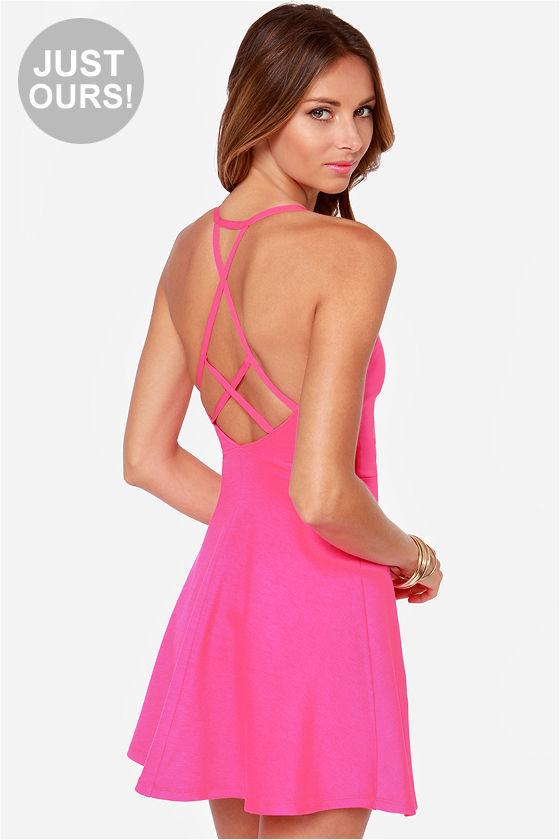 Pretty Hot Pink Dress - Skater Dress - Sweetheart Dress ...