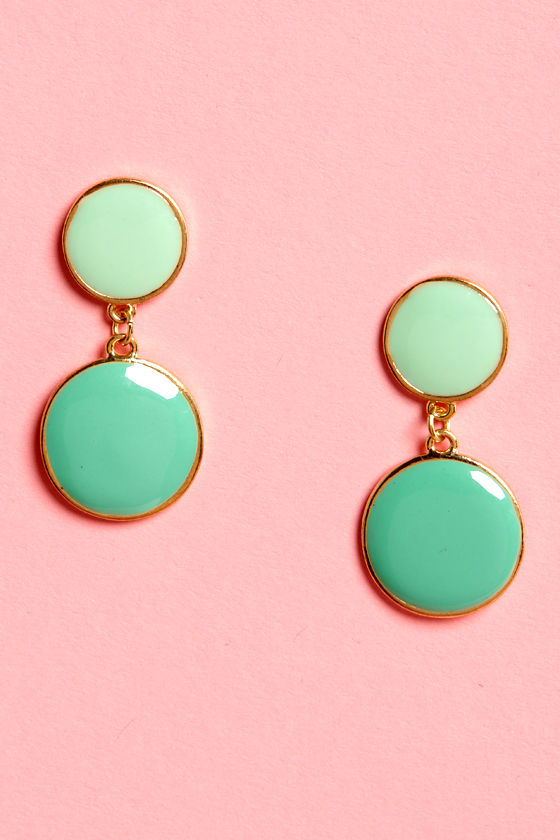 You Really Dot Me Now Mint Green Earrings at Lulus.com!