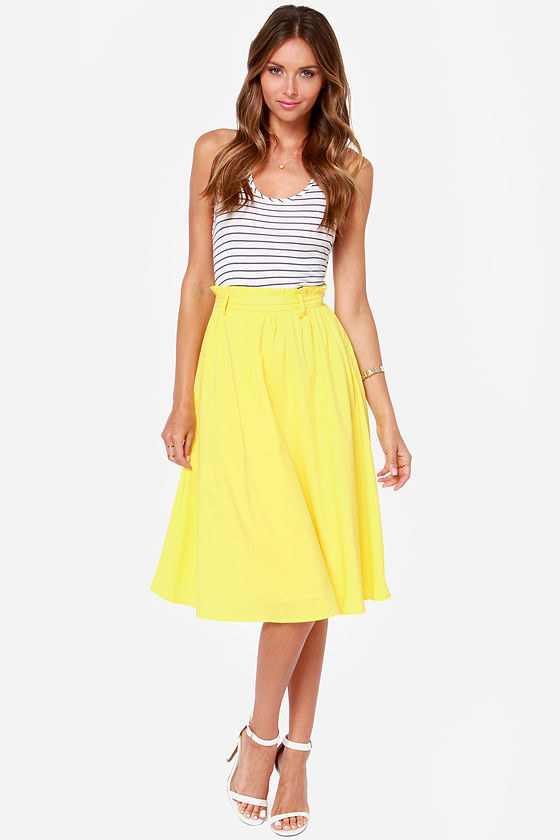 Pretty Yellow Skirt - Midi Skirt - $49.00