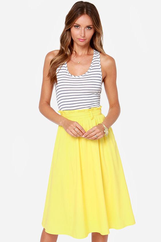 Pretty Yellow Skirt - Midi Skirt - $49.00