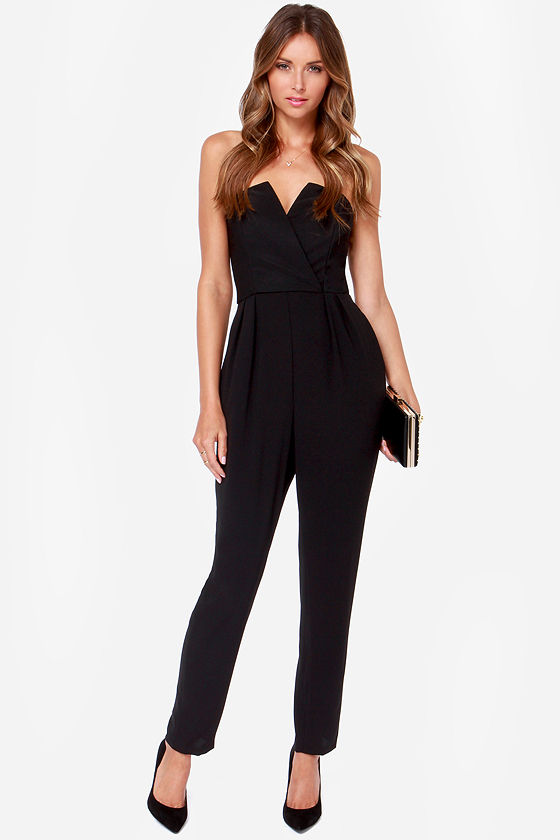 Cute Black Jumpsuit - Strapless Jumpsuit - $58.00