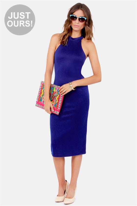Sexy Indigo Blue Dress - Midi Dress - Halter Dress - $41.00