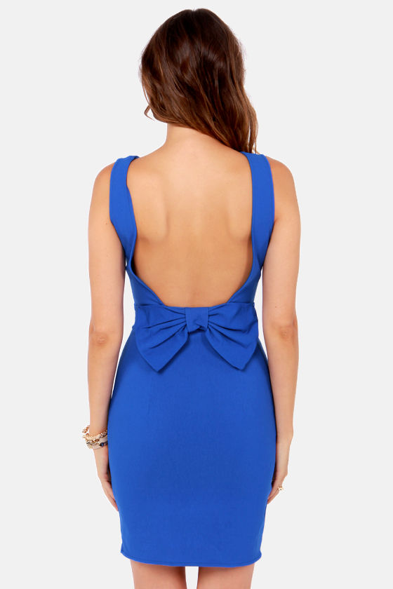 Bow Do You Do? Royal Blue Backless Dress at Lulus.com!
