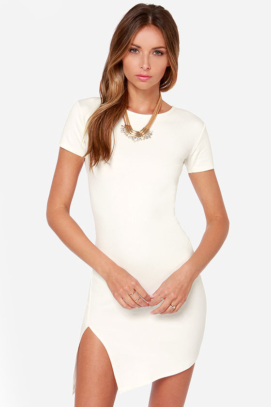 Cute Short Sleeve Dress - Ivory Dress - Bodycon Dress - $40.00